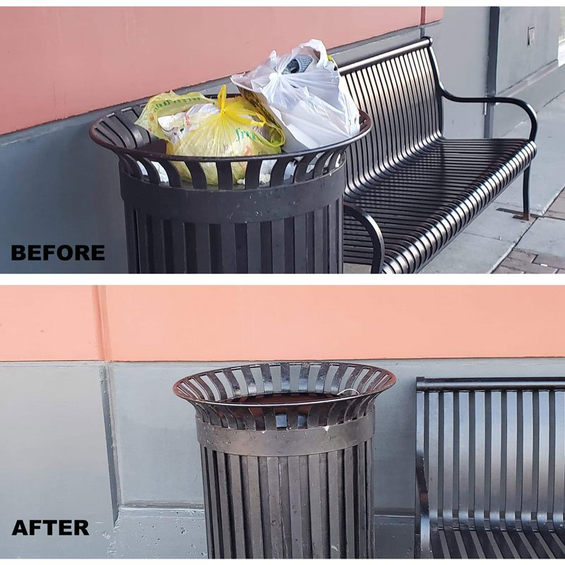 bin cleaning before after