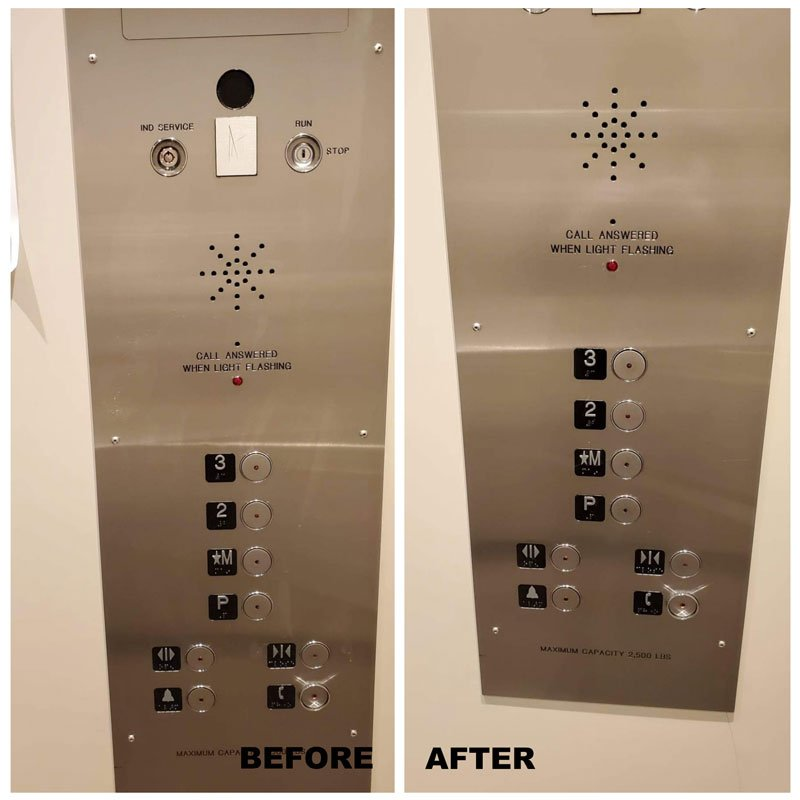 elevator cleaning before after