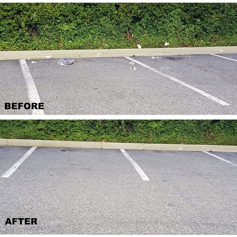 parking space cleaning before after